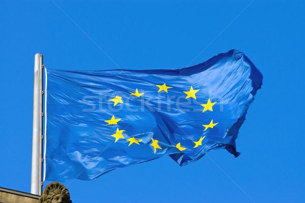 Európai zászló szövetség csillag csillagok kék Stock fotó © elxeneize
