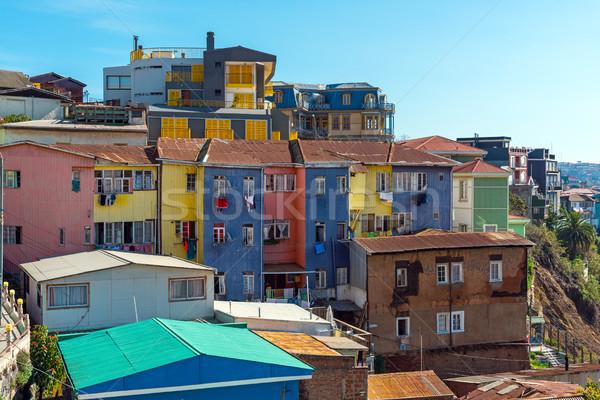 Colorido velho casas cidade construção paisagem Foto stock © elxeneize