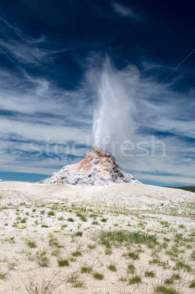 ストックフォト: ホット · スプレー · 白 · ドーム · 間欠泉 · お湯