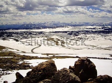 Autostrady Montana węże góry zimą śniegu Zdjęcia stock © emattil