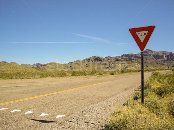 Vacío desierto carretera Nevada signo arena Foto stock © emattil