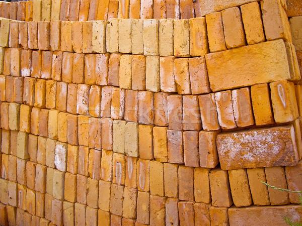 Bakstenen muur oranje steen baksteen witte Stockfoto © emattil