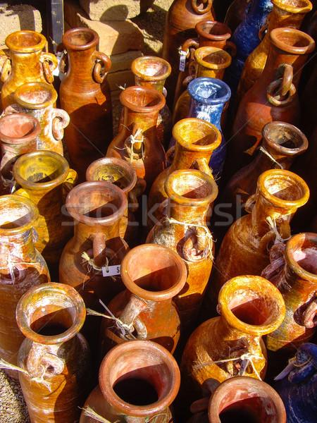 Mexicaanse aardewerk verkoop textuur ontwerp Stockfoto © emattil