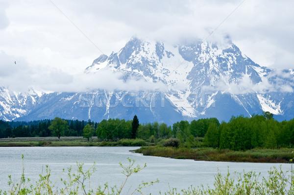 Grand Teton Lake with snow capped Peaks Stock photo © emattil