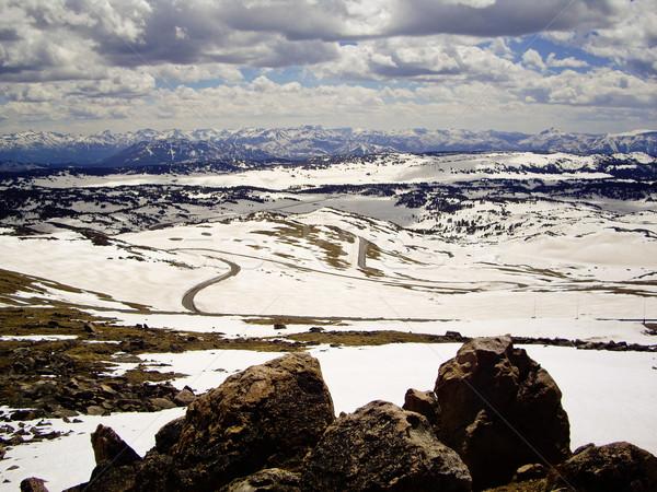 Snelweg winter glorie sneeuw groene bergen Stockfoto © emattil
