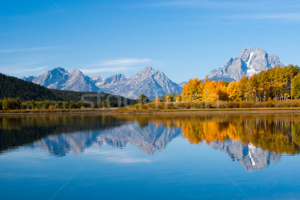 Grand tetons rippled reflections Stock photo © emattil