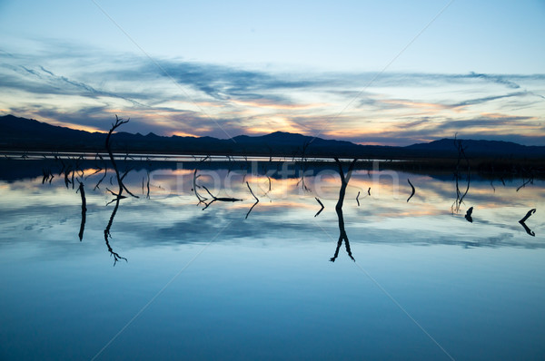 Laatste licht meer water wolken zonsondergang Stockfoto © emattil