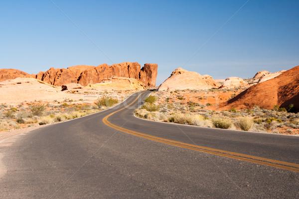 Woestijn weg zandsteen vallei brand textuur Stockfoto © emattil