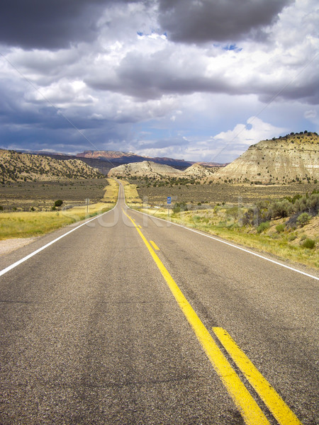Desert road in a Summer storm leads to Bryce Canyon Utah Stock photo © emattil