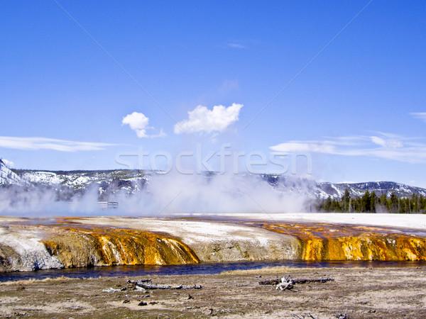 Renkli nehir park Wyoming ABD bulutlar Stok fotoğraf © emattil