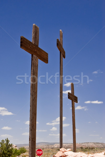 Three Crosses and a Stop sign Stock photo © emattil