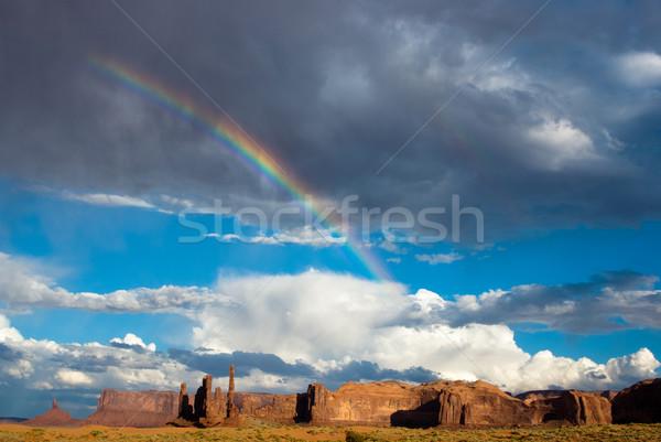 Dolinie tęczy burzy niebo charakter pomarańczowy Zdjęcia stock © emattil