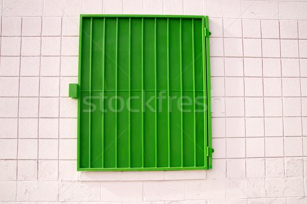 зеленый затвор белый стены городского Сток-фото © emattil