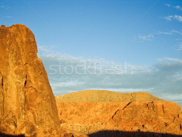Woestijn gloed namiddag zonneschijn textuur wolken Stockfoto © emattil