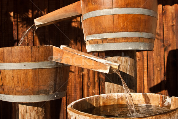 Water trickles through chutes to barrels  Stock photo © emattil