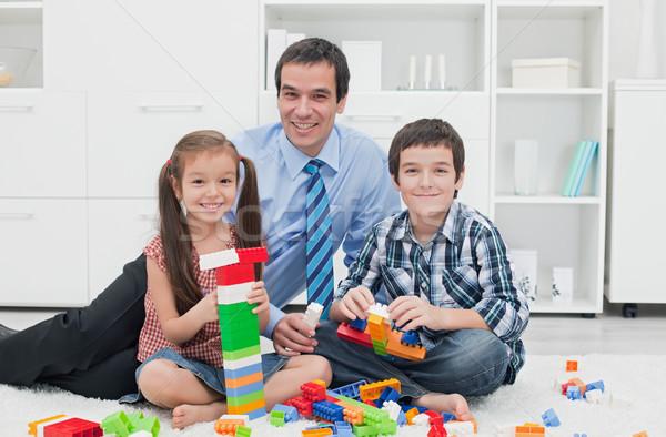 Père enfants affaires jouer travail temps Photo stock © emese73