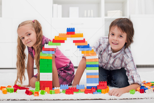 Happy children with blocks Stock photo © emese73