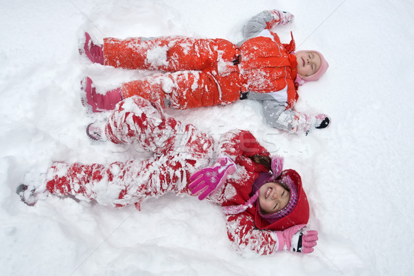 Two little girls in the snow Stock photo © emese73