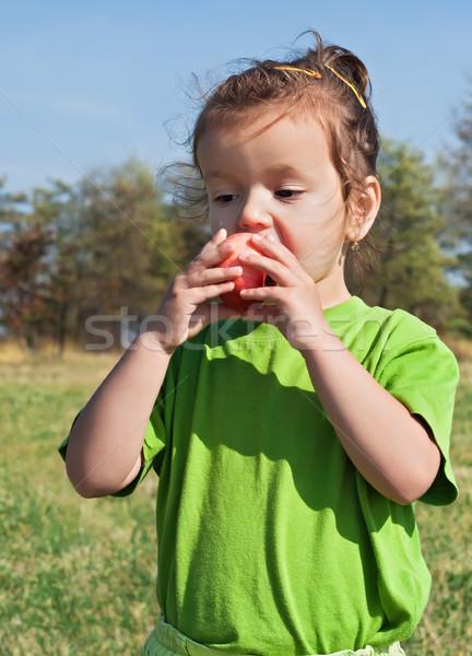 Petite fille manger pomme belle pomme rouge fille Photo stock © emese73