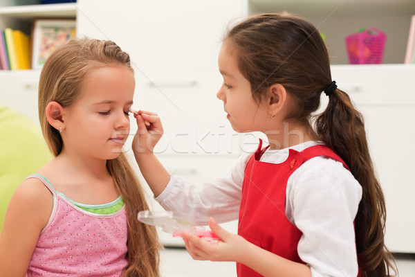 Little girls doing make up Stock photo © emese73