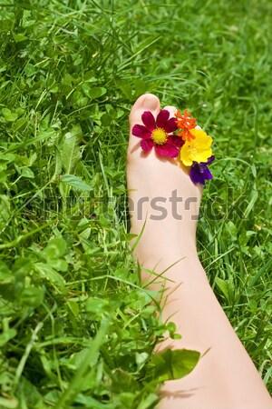 Nő láb megnyugtató fű zöld fű lábujjak Stock fotó © emese73