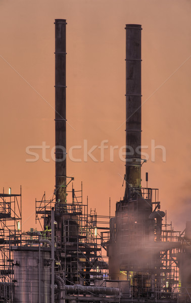 Stock photo: Industrial chimneys, early morning