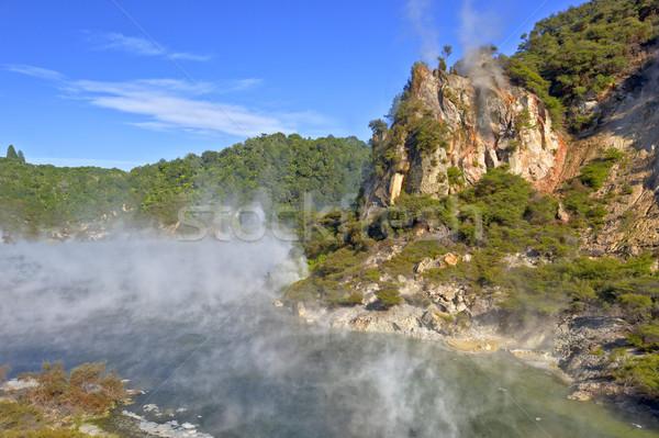 Zdjęcia stock: Katedry · skał · skały · wulkaniczne · jezioro · Nowa · Zelandia