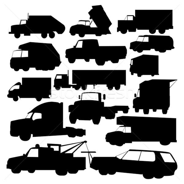 Teherautók vektor szett teherautó fekete sziluett Stock fotó © emirsimsek