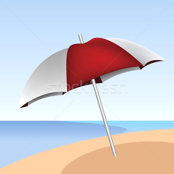 Güneş şemsiyesi plaj doğa arka plan seyahat şemsiye Stok fotoğraf © emirsimsek