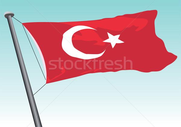 Turco bandera Turquía estrellas ola blanco Foto stock © emirsimsek