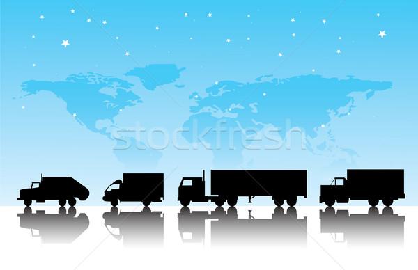 Teherautók teher világ Föld teherautó kék Stock fotó © emirsimsek
