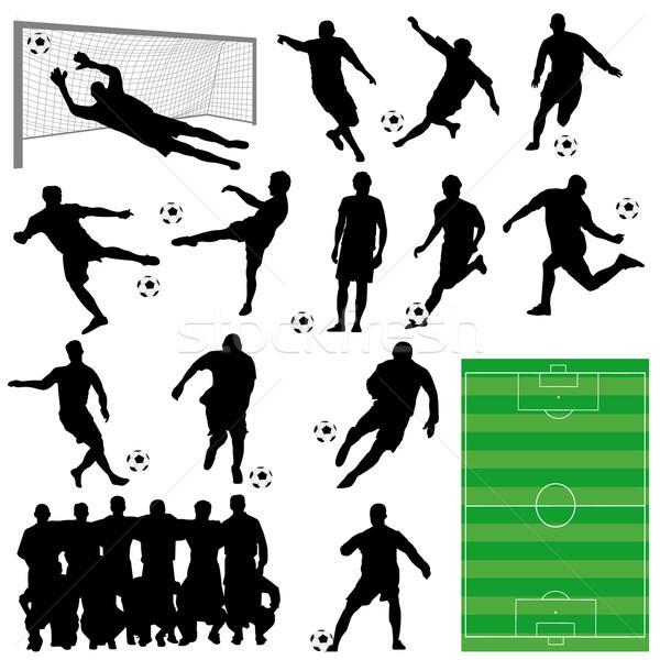 Futball gyűjtemény vektor szett játékosok sport Stock fotó © emirsimsek