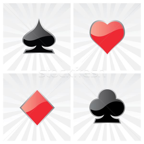 Játék kártya szimbólumok vektor szett szív Stock fotó © emirsimsek