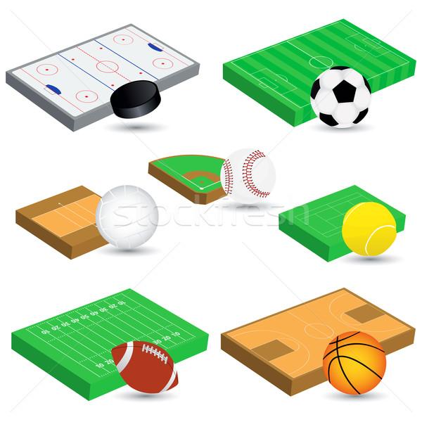 Sportok mezők vektor szett különböző futball Stock fotó © emirsimsek