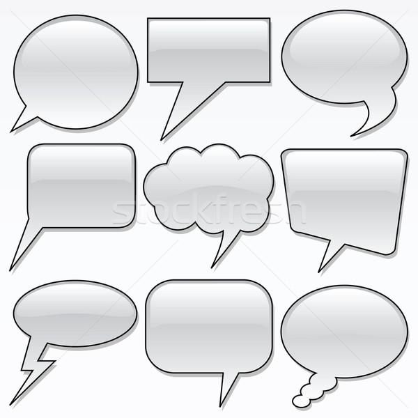 Dialogue bulles vecteur nuages boîte Photo stock © emirsimsek