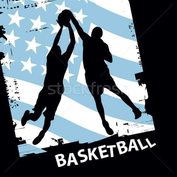 Kosárlabda játékosok vektor sziluett kettő zászló Stock fotó © emirsimsek