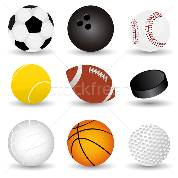 Sport golyók vektor szett terv felirat Stock fotó © emirsimsek