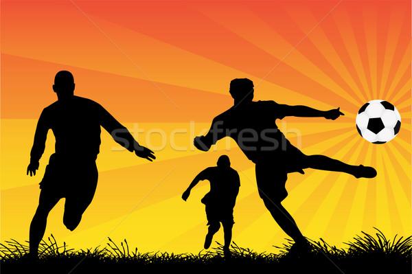Futball játékosok vektor sziluettek fű naplemente Stock fotó © emirsimsek