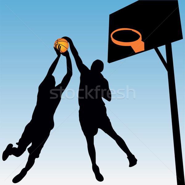 Kosárlabda játékosok sport jókedv labda sziluett Stock fotó © emirsimsek
