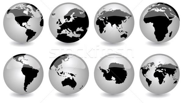 Fényes földgömbök vektor szett Föld különböző Stock fotó © emirsimsek