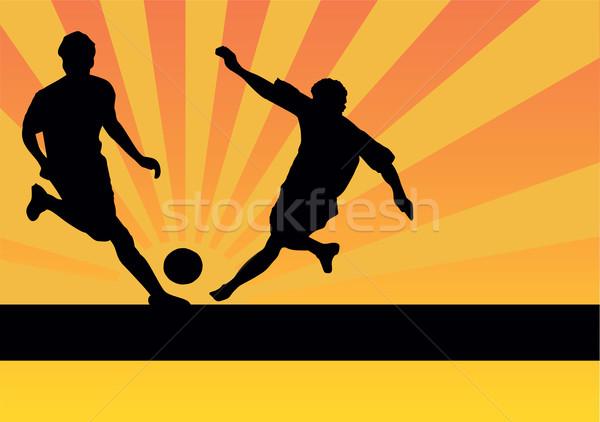 Futball játékosok sport jókedv labda sziluett Stock fotó © emirsimsek