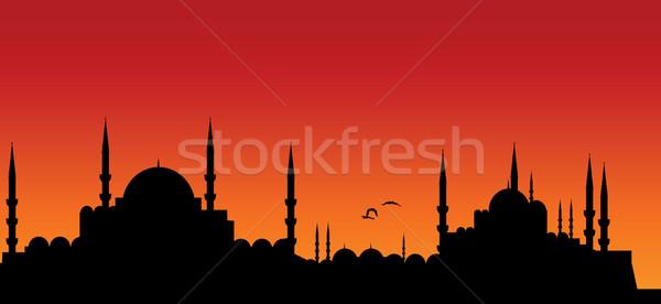 Városkép vektor háttér napfelkelte tapéta minta Stock fotó © emirsimsek