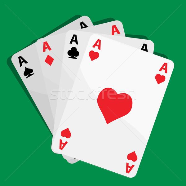 Négy ászok játék kártyák klub póker Stock fotó © emirsimsek