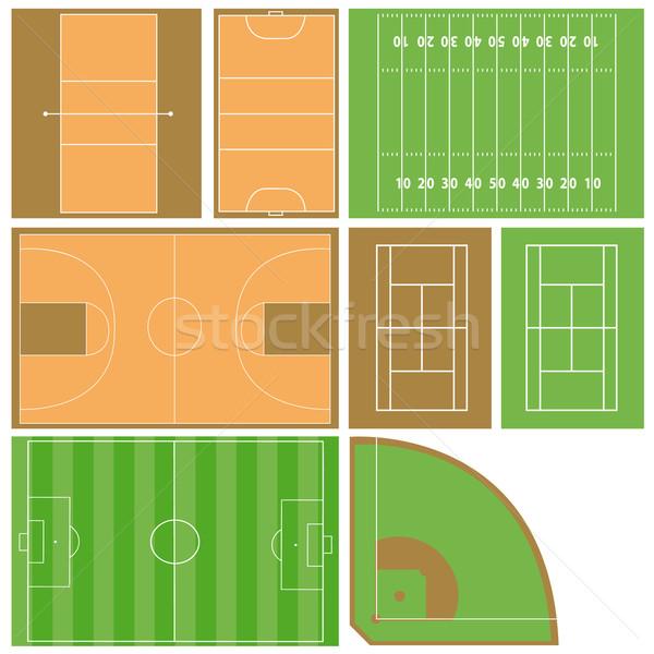 Sport mezők vektor szett különböző futball Stock fotó © emirsimsek