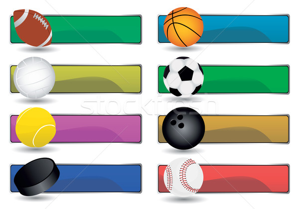Sport bannerek vektor szett kosárlabda sportok Stock fotó © emirsimsek