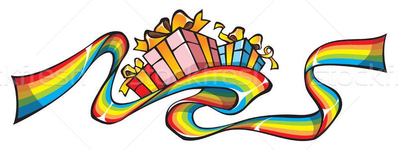 虹 リボン 贈り物 休日 デザイン ストックフォト © ensiferrum