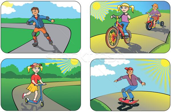 子供 ホイール ライディング 異なる 車 ストックフォト © ensiferrum