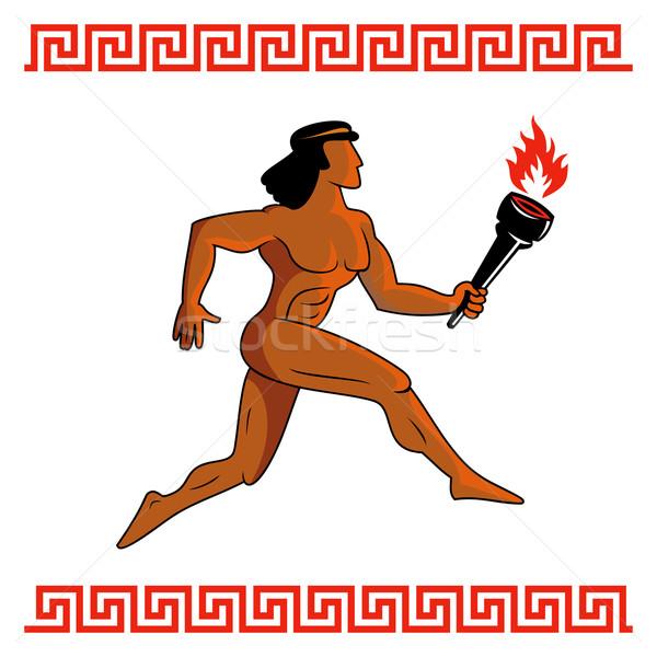 古代 ギリシャ語 選手 ギリシャ を実行して 男 ストックフォト © ensiferrum