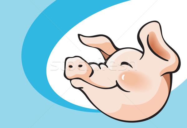 Gülen domuz kafa karikatür arka plan Stok fotoğraf © ensiferrum