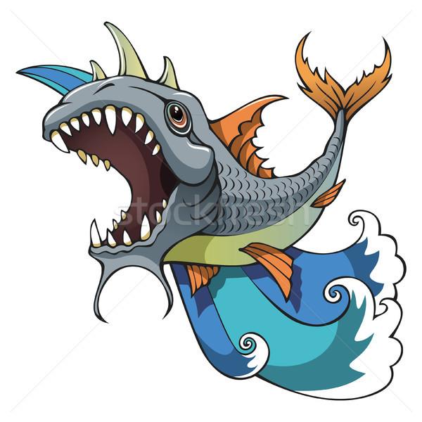 Mostro pesce denti Ocean onde Foto d'archivio © ensiferrum